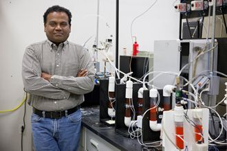 Pratap Pullammanappallil from the University of Florida with his anaerobic digester