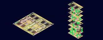 """The image depicts today's single-story electronic circuit cards, where logic and memory chips exist as separate structures, connected by wires. Like city streets, those wires can get jammed with digital traffic going back and forth between logic and memory. On the right, Stanford engineers envision building layers of logic and memory to create skyscraper chips. Data would move up and down on nanoscale """"elevators"""" to avoid traffic jams."""
