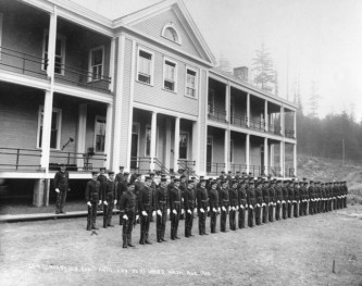 Troops lined up Fort Ward barracks 1910