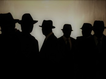 Silhouette Men Wearing Suits And Hats